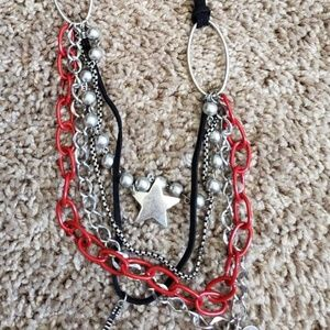 Carole Silver, red and black Neclace